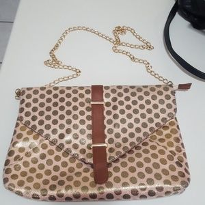 Handbags - 2/$14 Dusty Rose gold polka dot clutch purse